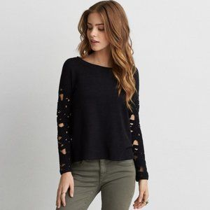 AEO Split Back Lace Sleeve French Terry Shirt